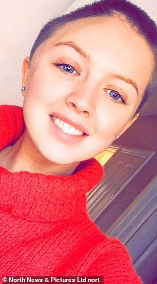 Jade Henderson (pictured), now 23, from Hartlepool, was thought to be a healthy 22-year-old when she fell to the ground within minutes of meeting her friends in Hebburn, South Tyneside