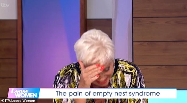 Empty nest: She said: 'He's leaving home today and he's 19, oh my god this is so embarrassing!' as she tried to hide her tears from the rest of the panel