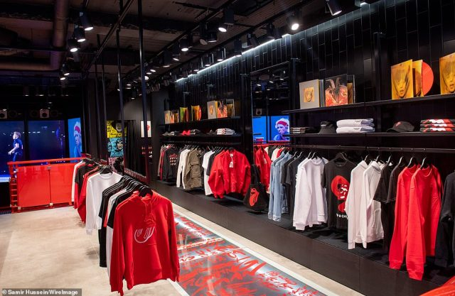 The shop contains a huge array of branded merchandise including t-shirts, hoodies, hats and various other items of clothing
