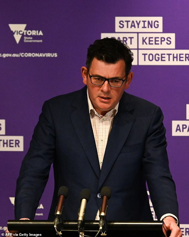 Body language expert Dr Louise Mahler said the premier puts his energy into the upper half of his body by leaning on the podium. 'This is not a good sign. When you're being powerful, you must have your energy in the body,' she said