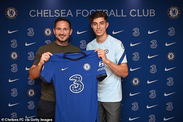 Welcome to the team: Frank has been busy rebuilding the Chelsea squad with some big money signings ahead of their first game away to Brighton and Hove Albion, among them German ace Kai Havertz (pictured)