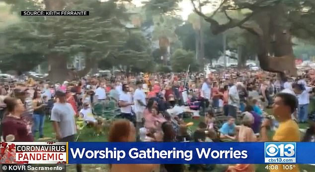 Footage from Sunday's event showed little social distancing and few worshipers in masks