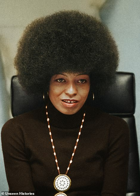 Political activist Angela Davis pictured in 1974. Davis was a longtime member of the Communist Party USA. When studying in Frankfurt, Germany, the US-bored activist returned to her home country and became involved in number causes, including the second-wave feminist movement and the Black Panther party