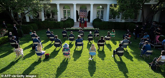 President Trump has been holding many events in the Rose Garden during the coronavirus pandemic as it is easier to maintain social distance standards
