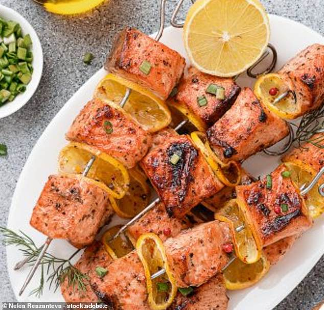 These splendid salmon kebabs are the perfect alternative to high calorie barbecue kebabs