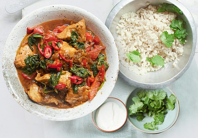 This scrumptious chicken curry with cauliflower rice is best served with½tbsp of soured cream and fresh coriander