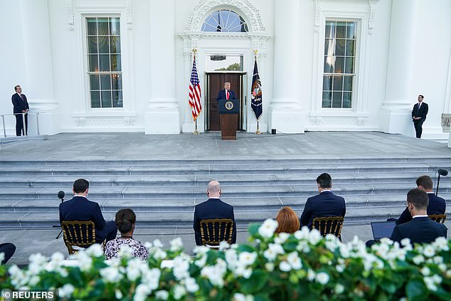 President Trump on Monday held a news conference on the North Portico, an unusual outdoor location for him to take questions from the press as such events are usually in Rose Garden