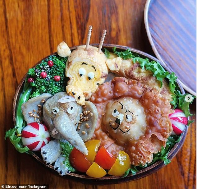 And it's not only famous movie characters that get a seat at the mother's table, with the parent also creating animal-themed meals (above)
