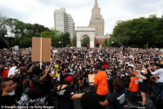 Cuomo said the college party is different from BLM protests that gathered in the same park earlier this summer because not many participants were from out of state. A massive crowd of protesters in Washington Square Park above protesting the police killing of George Floyd on June 6
