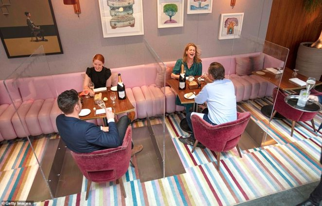Diners in The Bluebird in London on July 4, when dining reopened across the UK after weeks of closures. Perspex glass separates the tables and staff had to wear extra safety equipment but it has proven safe