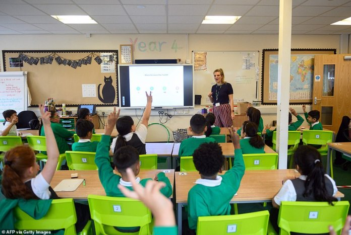 September is my favourite time of year: I love the back-to-school feel of it. And after a long summer of lockdown, more than ever it feels good to get back into a routine(Pictured: A teacher leads a maths class for Year Four children in their classroom at Greenacres Primary Academy in Oldham, northern England on September 01, 2020)