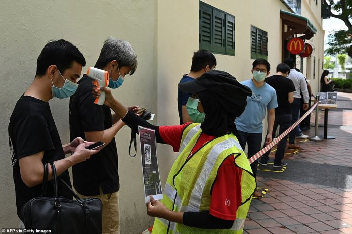 A staff member wearing a face mask as a prevention measure against the spread of the COVID-19 coronavirus takes the temperature of a customer lining up outside a McDonald's fast food restaurant on its first day of opening after three weeks closure due to the pandemic in Singapore