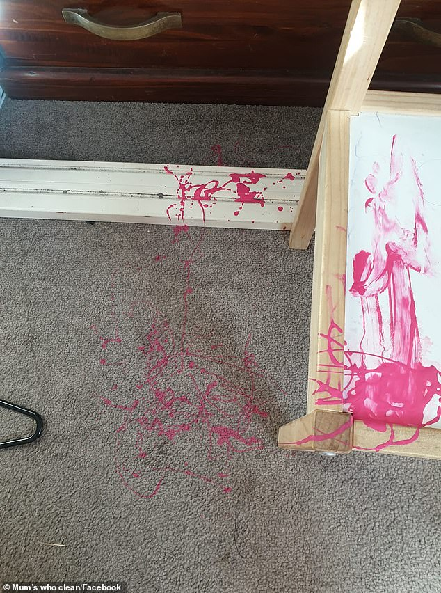 A group of Australian mums have revealed how to remove nail polish from carpet after a woman was desperately seeking advice.Sarah shared a photo (pictured) of the pink nail polish that had spilled onto her new grey carpet