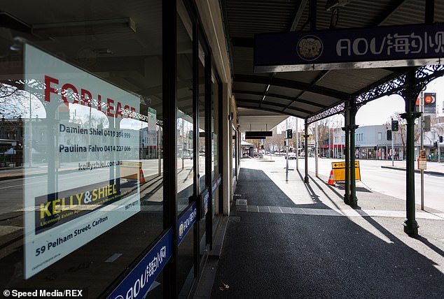 A survey showed that at least 45.83 per cent of Victorian hospitality staff had considered a career change away from hospitality (Empty shopfronts pictured in Melbourne's CBD)