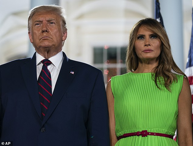 The US has made six agreements with companies to get access to a vaccine. Pictured: President Trump and wife Melania
