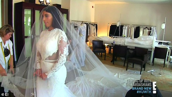 Glowing bride: With nearly 200 guests the lavish wedding saw Kim in a mermaid-silhouette gown that featuring delicate white lace was custom-made by Givenchy Haute Couture