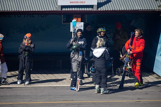 Equipment: Zac and his entourage were seen holding skis and poles before heading to the mountain for an afternoon of hitting the slopes
