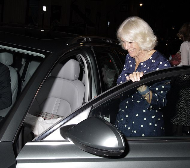 Camilla could be seen getting in the front of the car, which had a pillow on the seat so she could travel in comfort