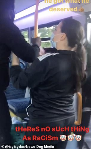 Other passengers stand between the pensioner and the black commuters and try to defuse the situation. One of the black passengers leaves the bus, though the confrontation continues