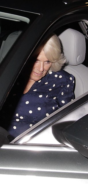 Camilla was spotted stepping out of the passenger side of the door