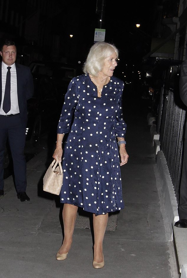 Camilla accessorised with a watch on her left hand, and completed her outfit with a pair of dainty silver earrings and a necklace