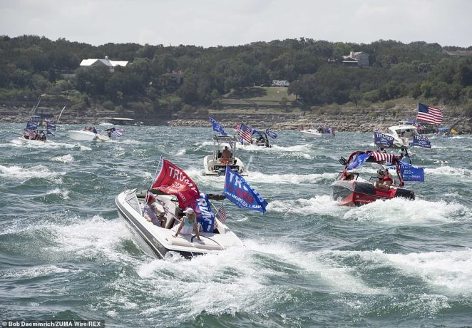Several boats capsized in the huge wakes from hundreds of boats in the Trump Boat Parade in Texas, Lakeway