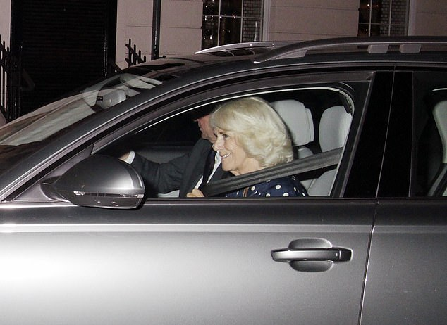 The royal could be seen putting her seat belt on following her visit to the private members club in Mayfair