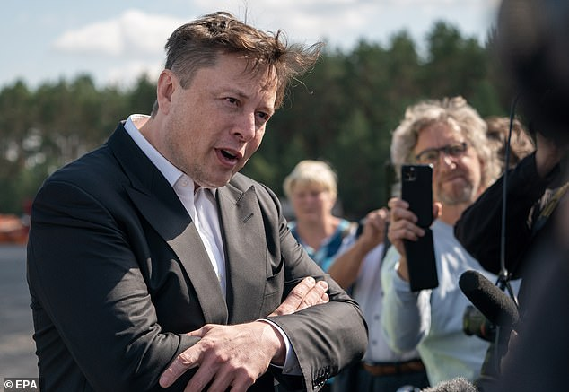 Elon Musk (pictured in Germany on September 3) saw his net worth plummet by $16.3 billion yesterday after Tesla shares dropped by 21 per cent amid a sell off in America tech stocks and new competition from a partnership fromNikola Corp. and General Motors Co.