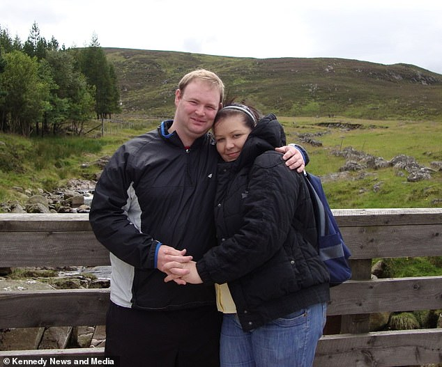 Ms Majcher and her boyfriend Stewart Rugg (pictured together), 37, placed the bricks on their garden steps after seeing one of the creatures fall