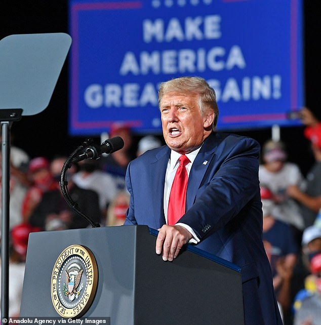 President Donald Trump (pictured holding a campaign rally in Winston-Salem yesterday) has been nominated for the 2021 Nobel Peace Prize, just weeks after helping to broker peace between Israel and the United Arab Emirates