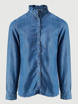 V by Very Ruffle Neck Long Sleeve Soft Denim Shirt (£28) at Very