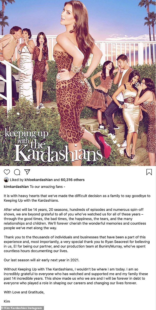 Shock announcement: Kim Kardashian shocked fans by announcing that her family's iconic reality show is ending after 14 years on air