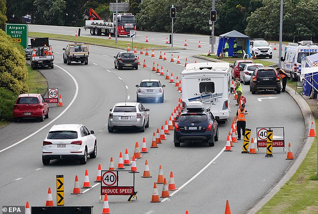 Her rant comes as NSW politicians berated other states over their closed borders, with one describing QLD's stance as 'loopy'. Pictured: Motorists approaching the QLD-NSW check point