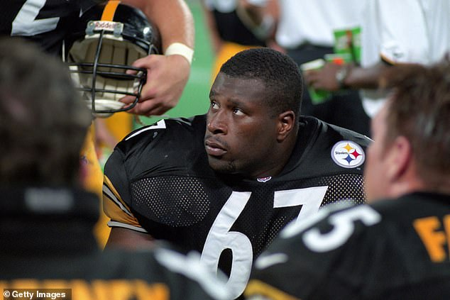 Jamain's father (pictured playing for the Pittsburgh Steelers in August 1998), 46, played five seasons in the NFL in the mid-90s and he also leaves behind his mother, Kelly Allen, and two siblings