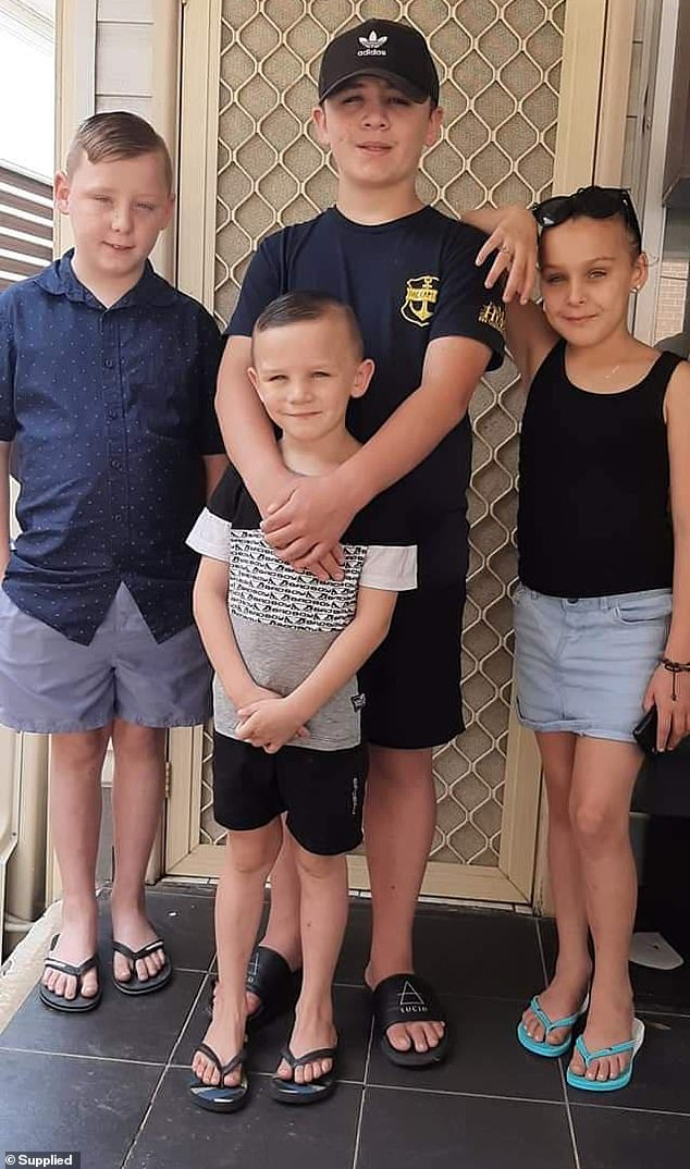 Pictured: Mr Keans' four children. Queensland's quarantine fees are $4,620 for two adults and two children. Getting all 11 members of the father's close family across the border was financially beyond them