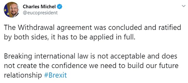 He made headlines earlier this month when he insisted breaking international law was 'not acceptable' in relation to the withdrawal agreement