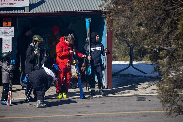 Kitted out! Earlier, Zac and his entourage were spotted getting fitted out for ski gear