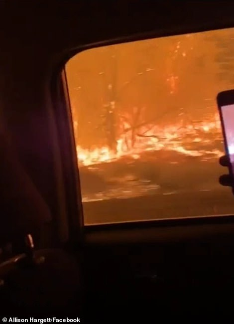 Allison Hargett filmed several videos from the car as her family fled from the Beachie Creek Fire in Marion County early Tuesday