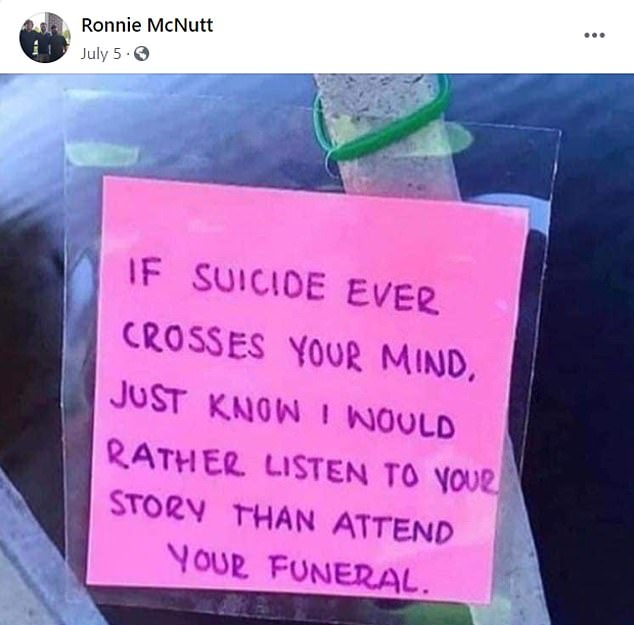 Less than two months earlier, McNutt posted this suicide-prevention message