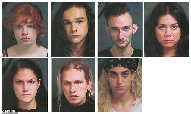 The NYPD has released the mugshots of Clara Kraebber (top left), the 20-year-old wealthy Upper East Side college student, and six others who allegedly smashed up store windows causing $100,000 worth of damage to New York City businesses during weekend riots