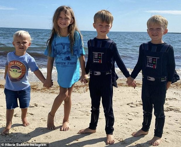 His brother: The new baby will be the brother of Carmen, seven, Rafael, five, Leonardo, three, and two, two, featured in an Instagram post during his summer in Hampton.