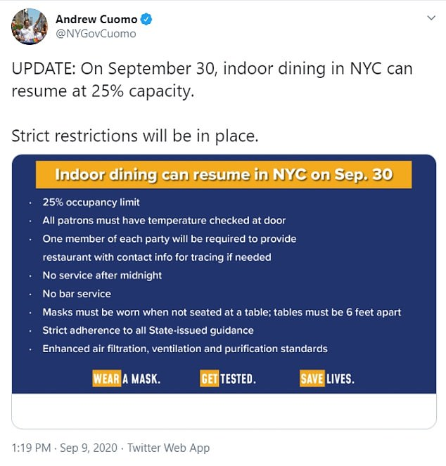 Cuomo said indoor dining could reopen end September with 'strict restrictions', including that restaurants have to close by midnight