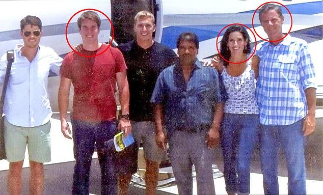 Granda with Falwell Jr. and his wife Becki, circled. He says he had a six-year affair with Becki