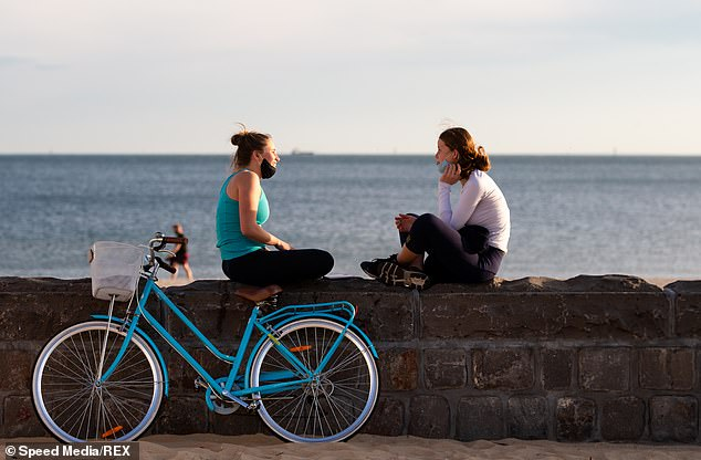 Two friends enjoy each others company by the beach in the sun during COVID-19 in Melbourne, Australia