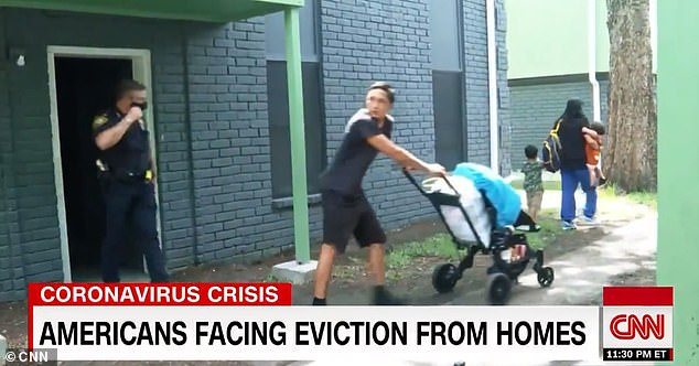 Harris County cops were seen evicting the young family from their Texas complex after they received multiple warnings from their landlord and the local court
