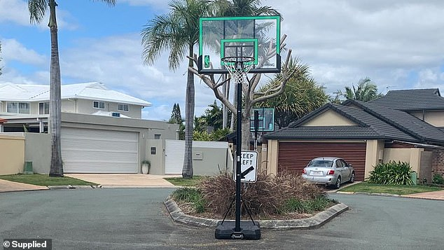 The hoop sat at the end of the cul-de-sac and didn't obstruct any passing vehicles
