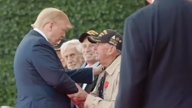 In the video the president is shown praising military veterans