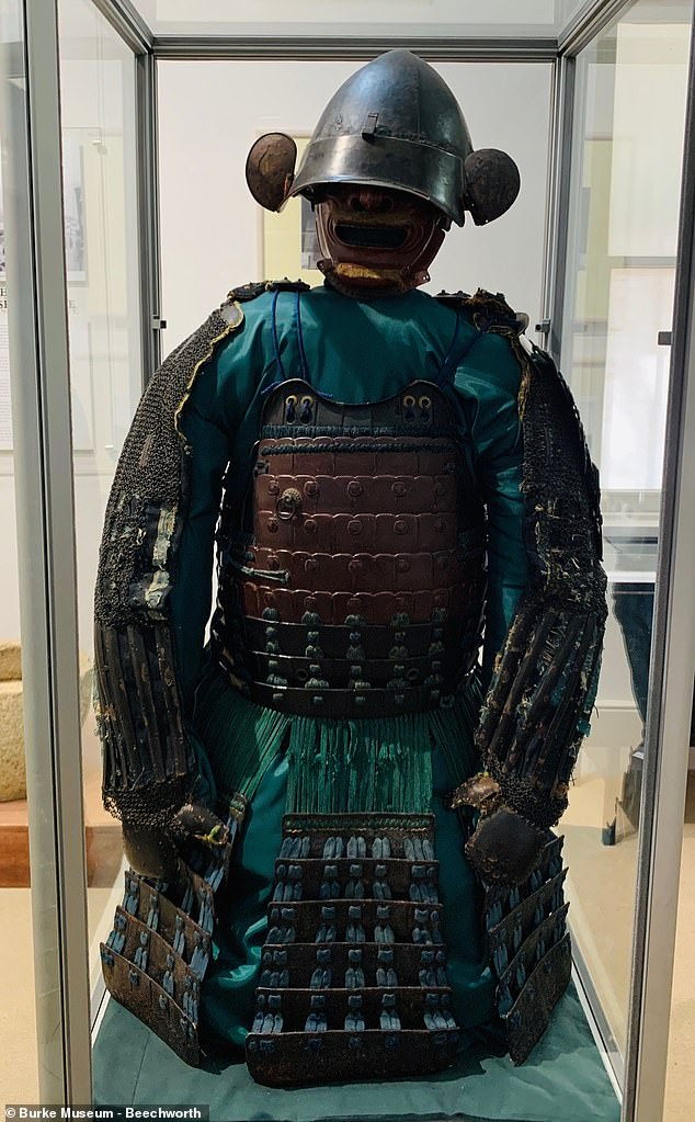 The armour worn by bushranger Ned Kelly and his gang 140 years ago might have been inspired by a Japanese samurai suit (pictured) now on display at a regional Australian museum
