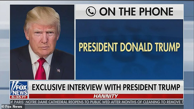 Donald Trump spoke by phone to Sean Hannity on Fox News on Wednesday night