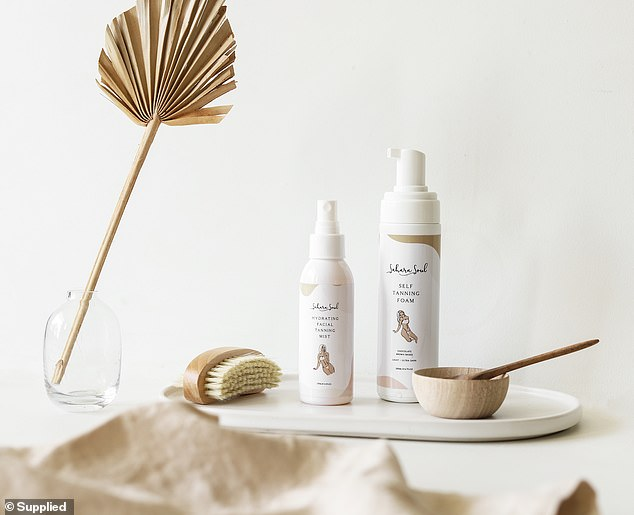 The range launched with a self-tanning foam (right) which has since been joined by a facial mist (left) that promises to give complexions a radiant glow